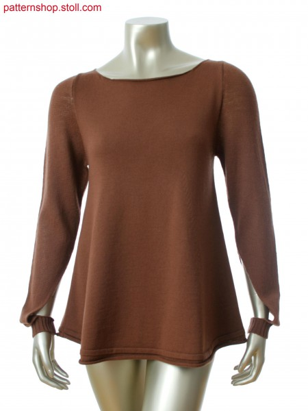 Fully Fashion pullover. Body with rolling edge start. Sleevein 1x1 technique with long side slit.