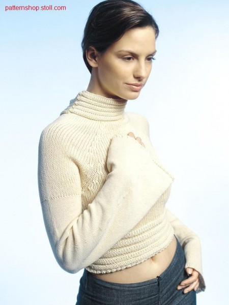 Jersey raglan pullover with bell sleeves / Rechts-Links Raglanpullover mit Trompeten