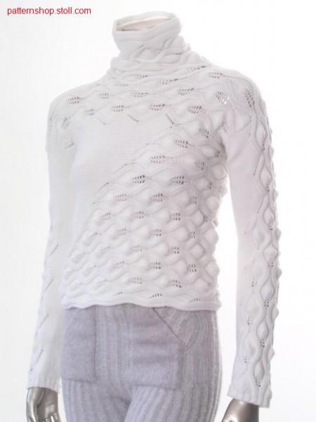 Pullover across to stitch direction with pointelle  / Pullover mit Maschenverlauf quer zur Strickrichtung  mit Petinet