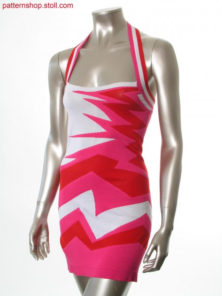 Fitted fully fashion halter-neck dress /Tailliertes Fully Fashion Neckholder-Kleid mit Intarsiamotiv