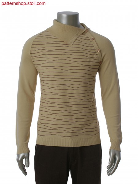 Fully Fashion pullover with raglan sleeve, side neck placket, 2-color stripes in float structure.