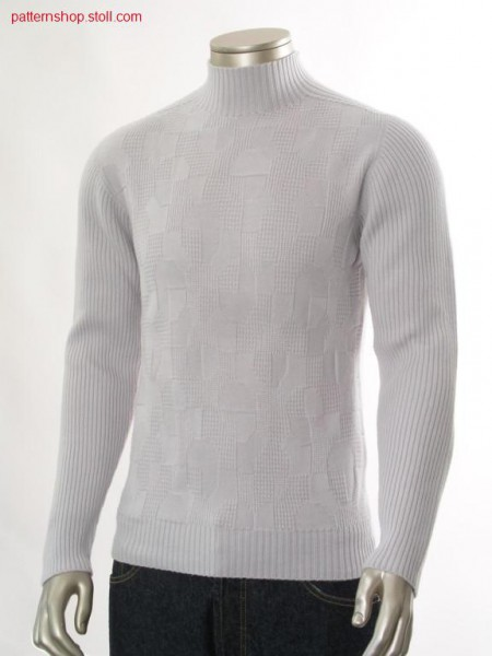Pullover with saddle shoulder in jersey structure / Pullovermit Sattelschulter in Rechts-Links Struktur