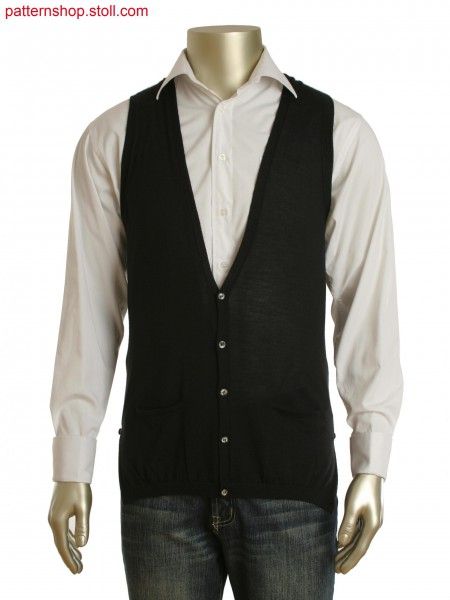 Fully Fashion waistcoat folded back in pointelle and buttoned up side slits