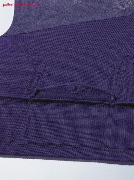 FF-Intarsia front with patch pockets and flap / FF-Intarsia Vorderteil mit aufgesetzten Taschen und Patte