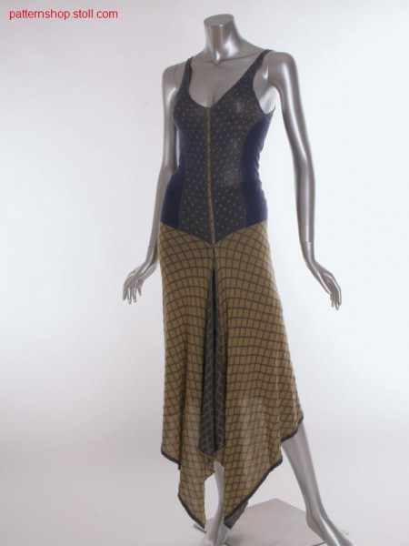 Fitted fully fashion-intarsia dress with V-neck / Tailliertes Fully Fashion-Intarsia Kleid mit V-Ausschnitt