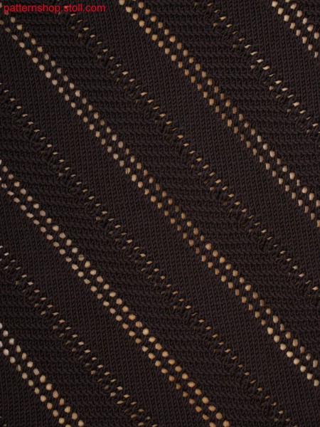Jersey structure with purl stitches and diagonal pointellelines