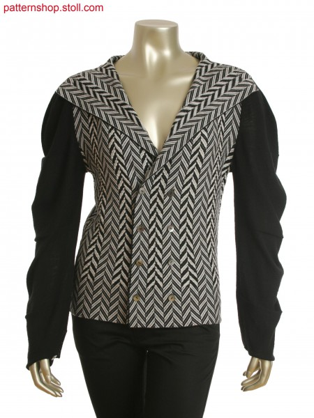 Fully Fashion cardigan in cross tubular jacquard and tubularfloat jacquard with transfer loops in zig-zag optic