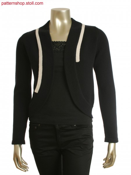 Black single jersey cardigan, curved front panels, with a striped back panel.