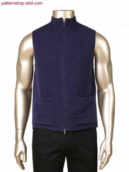 Fully Fashion waistcoat with holding stitches and integrated pockets, knitted in one piece