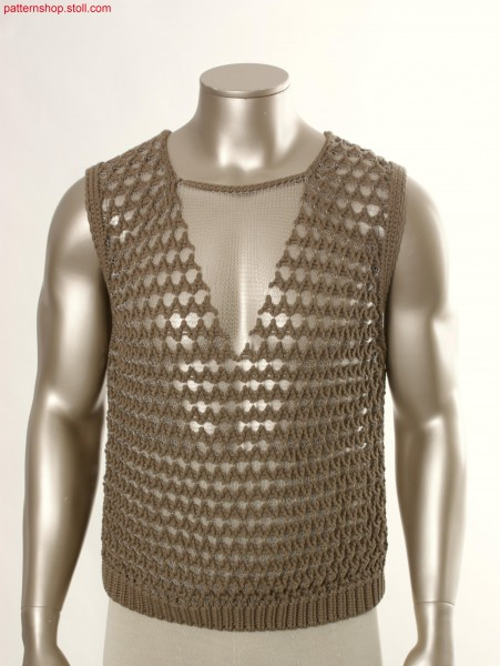 Fully Fashion slipover with bulky mesh structure / Fully Fashion Pullunder mit grober Netzstruktur