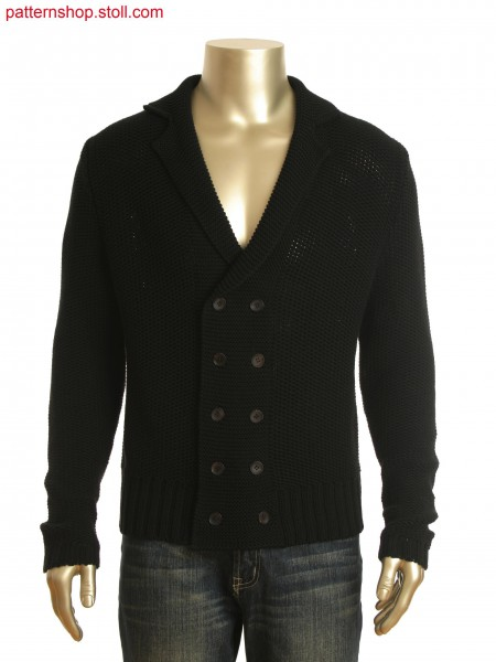 Fully Fashion lapel collar cardigan in pique and purl structure with strap in layer technology at the back.