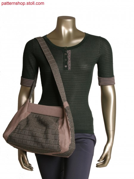 Stoll-multi gauges&reg, Fully Fashion 2 colour jacquard bag, knitted in one piece