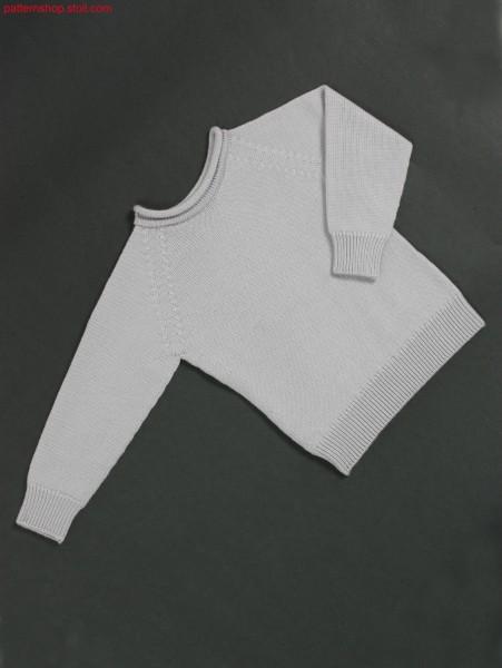 Fitted jersey raglan pullover with gored crew neck / Taillierter Rechts-Links Raglanpullover mit Halsspickel