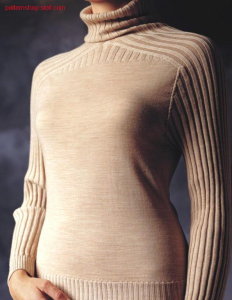 Fitted jersey pullover with saddle shoulder / Taillierter Rechts-Links Pullover mit Sattelschulter
