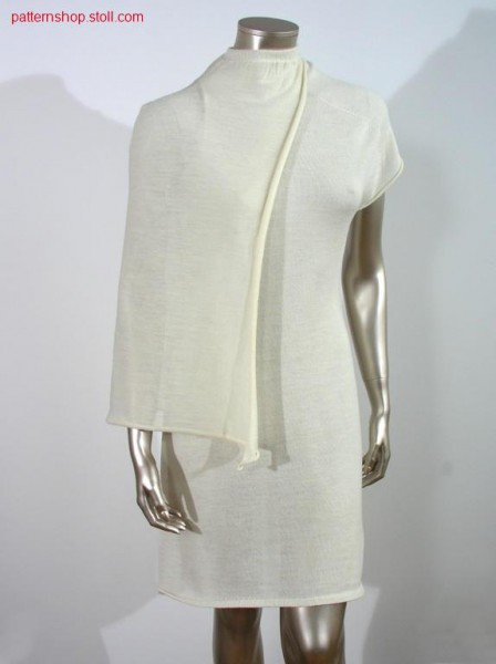 Fitted asymmetric jersey dress with knitted on cape/Tailliertes asymmetrisches Rechts-Links Kleid mit angestricktem Cape