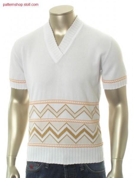 FF-jersey short-sleeved pullover with jacquard border / FF-Rechts-Links Kurzarmpullover mit Jacquardbord