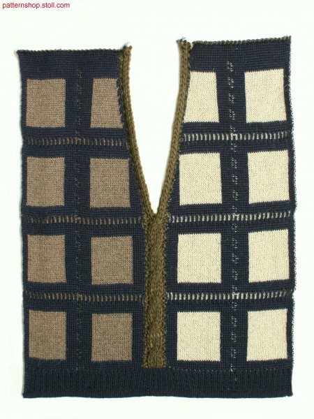 Intarsia swatch with 2-colour jacquard and 2x2 cables / Intarsia Musterausschnitt mit 2-farbigem Jacquard und 2x2 Z