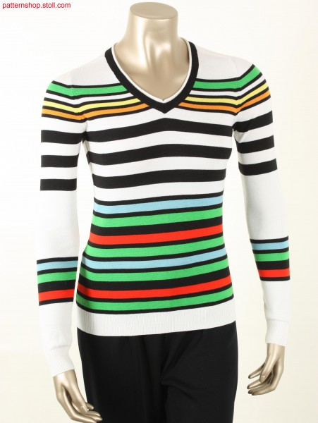 Striped Fully Fashion jersey Pullover / Geringelter Fully Fashion Rechts-Links Pullover