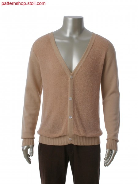 Stoll-knit and wear&reg cardigan with integral placket and button hole