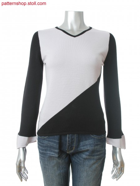 Fully Fashion women's V-neck pullover with 2-color intarsia and trumpet sleeves