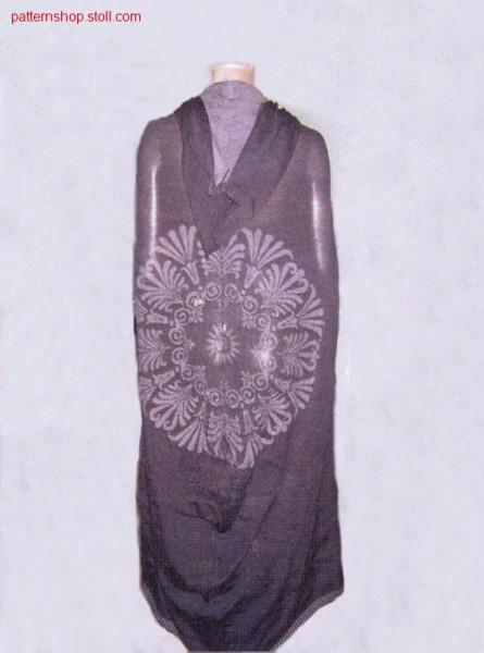 Plated hooded cape in gore technique with floral rosette / Plattierter Kapuzenumhang in Spickeltechnik mit Blumenrosette
