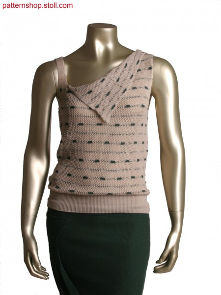 Fully Fashion asymmetric top in 2 colours,layer technology,pointelle structure