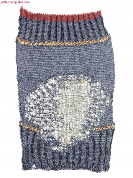 Plated swatch with ornamental stitches / Plattierter Musterausschnitt mit Zierstichen