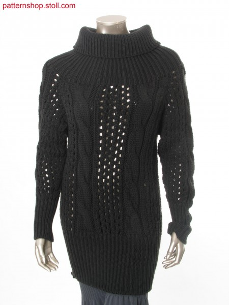 Long raglan pullover with 2x4 cables and piontelle structure / Langer Raglanpullover mit 2x4 Z