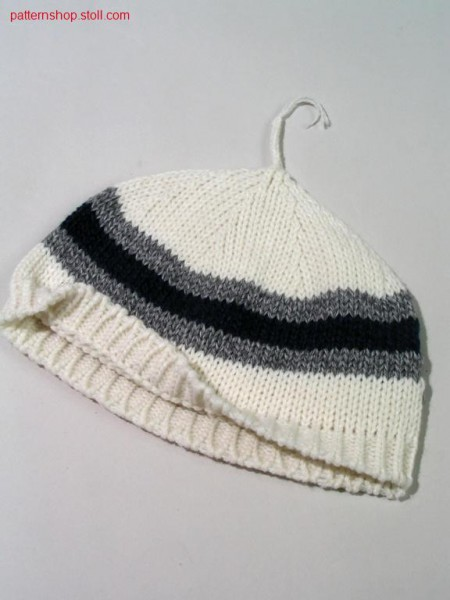 Striped jersey cap with yarn supply / Mütze mit Farbringel und Fadenversorgung