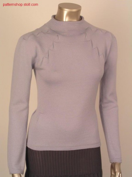 Fitted pullover with inverted pleats narrowing / Taillierter Pullover mit Kellerfaltenminderung
