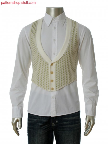 Fully Fashion waistcoat with front in cross tubular jacquardstructure, back and placket in interlock