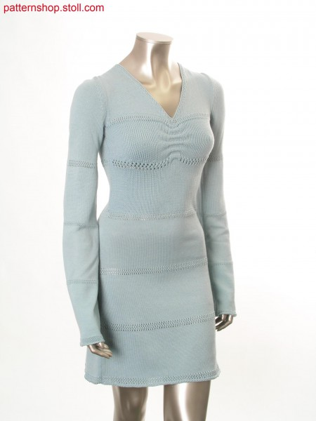 Fully Fashion jersey dress with stripes in pointelle structure / Fully Fashion Rechts-Links Kleid mit Petinetringeln