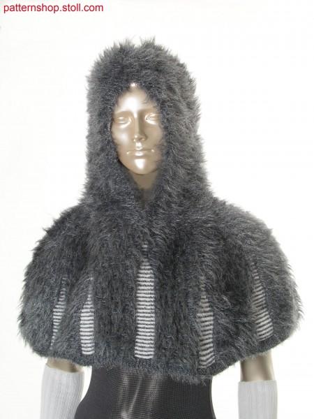 Hooded reversible cape in fake fur with floated fancy yarn /Kapuzen-Wendeumhang in Felloptik aus geflottetem Effektgarn