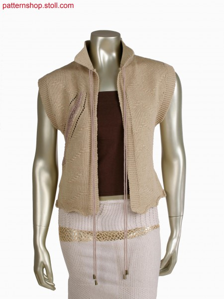 Fully Fashion vest with diagonal intarsia lines, cast off structure and scallop edge by goring