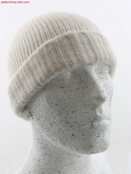 Knitted jersey caps with turn-up in 2x2 rib / Rechts-LinksStrickm