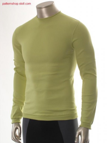 Jersey pullover with enlarged body cuff / Rechts-Links Pullover mit erweitertem Leibbund