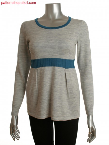 Fully Fashion women's long pullover with pleats and colored rib detail