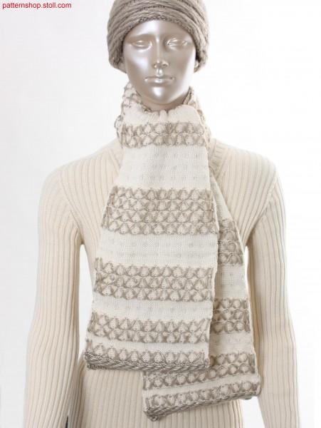 Striped Scarf in jersey structure with ornamental stitches/ Geringelter Schal in Rechts-Links Struktur mit Zierstichen