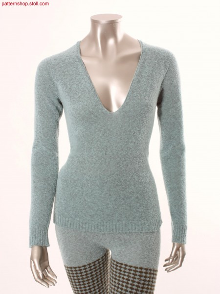 Fitted jersey pullover with inserted sleeves / TaillierterRechts-Links Pullover mit eingesetzten
