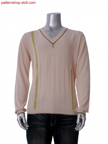 Fully Fashion V-neck pullover in 3-color intarsia and purl structure