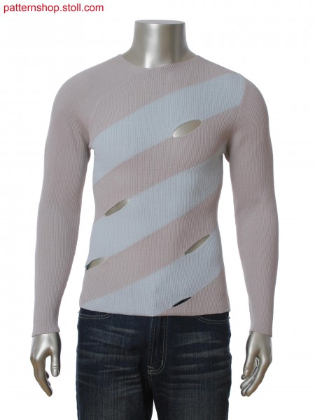Fully Fashion pullover with asymmetric neckline. 2-color diagonal intasia with slit openings.