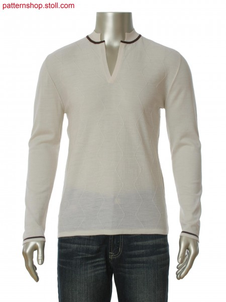 Fully Fashion pullover with float structure and stand up 1x1rib collar