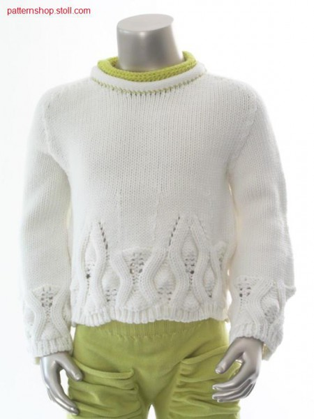Children's jersey pullover with pointelle leaf motive / Rechts-Links Kinderpullover mit Petinet Blattmotiv