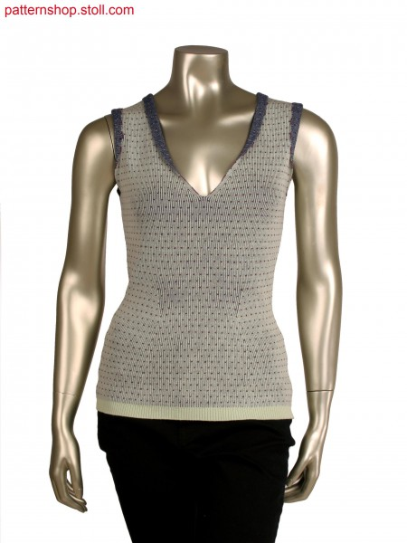 Stoll-multi gauges&reg, Fully Fashion sleeveless top, 3 colour half cardigan structure in 14gg optic