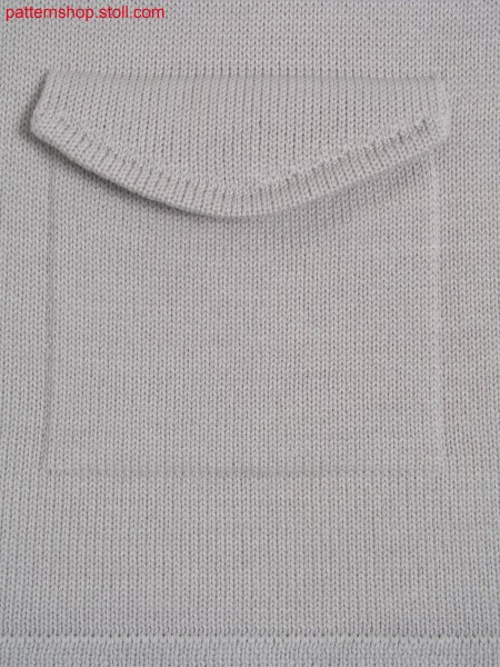 Jersey knitted fabric in 1x1 technique with flap pocket / Rechts-Links Gestrick in 1x1 Technik mit Klappentasche