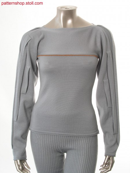 Fitted Fully Fashion jersey pullover in 1x1 technique / Taillierter Fully Fashion Rechts-Links Pullover in 1x1 Technik
