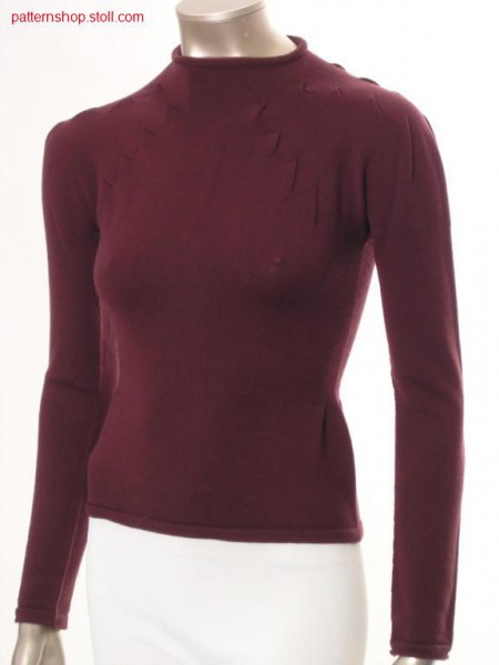 Fitted pullover with inverted pleats narrowing / TaillierterPullover mit Kellerfaltenminderung