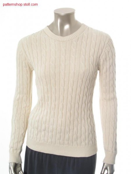 Rib Pullover with 2x3 cables, inserted sleeves / Ripp Pullover mit 2x3 Z