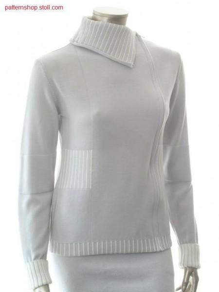 Asymmetrical FF-Intarsia cardigan with turndown collar / Asymmetrische FF-Intarsia Strickjacke mit Umschlagkragen