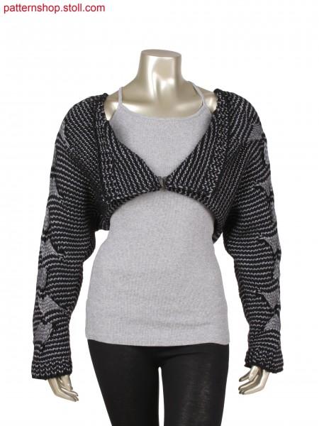 Fully Fashion bolero in 1x1 technique and 2 colour stripes